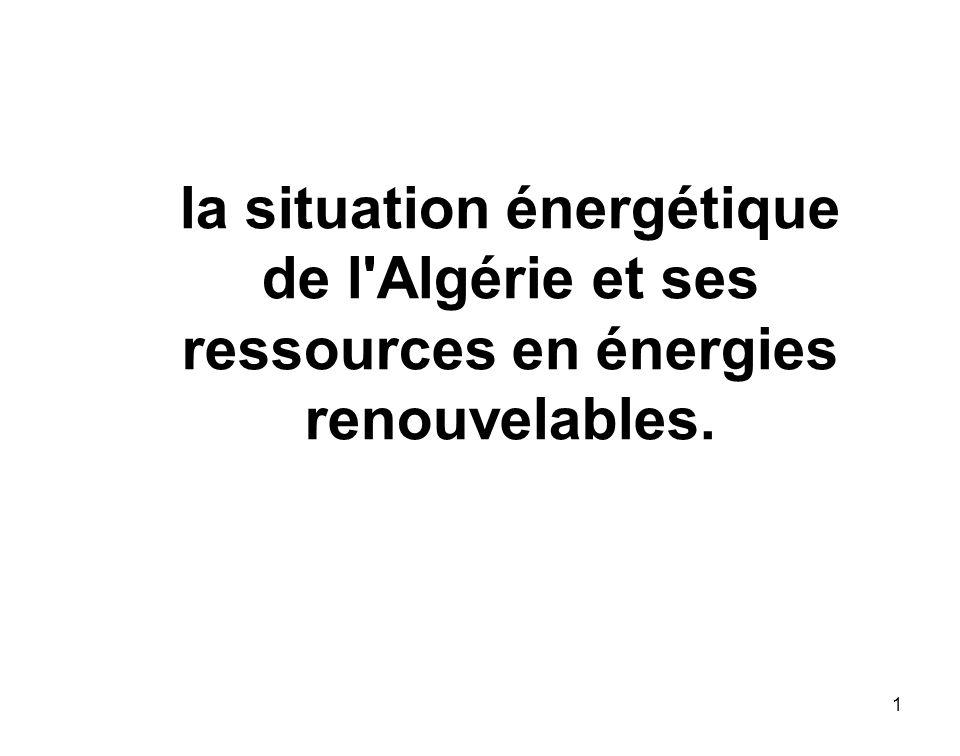 1 la situation énergétique de l'Algérie et ses ressources en énergies renouvelables.