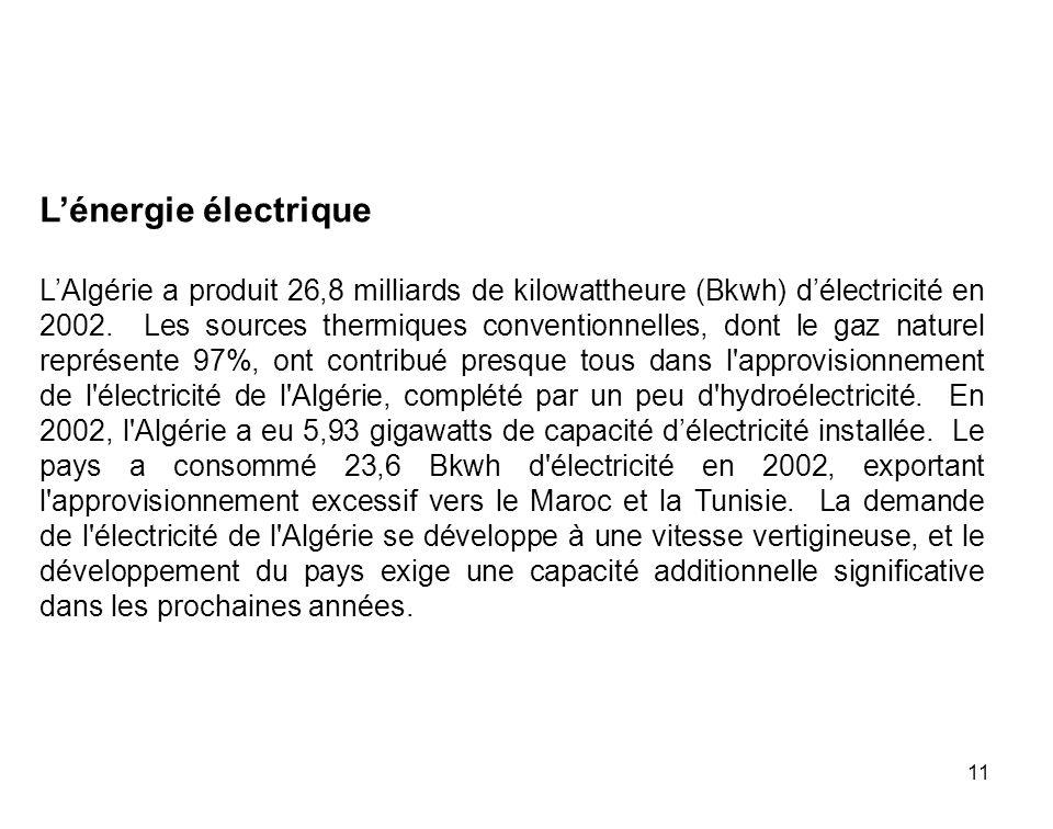 11 Lénergie électrique LAlgérie a produit 26,8 milliards de kilowattheure (Bkwh) délectricité en 2002. Les sources thermiques conventionnelles, dont l