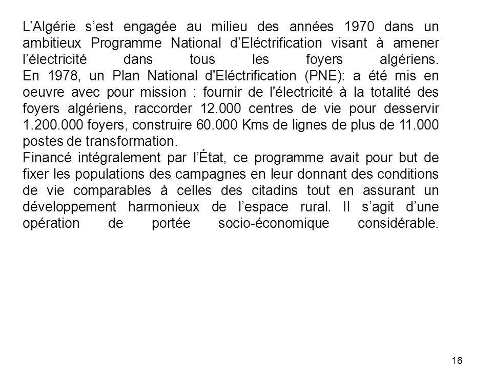 16 LAlgérie sest engagée au milieu des années 1970 dans un ambitieux Programme National dEléctrification visant à amener lélectricité dans tous les fo