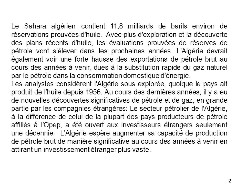 3 La production moyenne du pétrole brut de l Algérie pendant lannée 2004 était 1,23 millions de barils de pétrole par jour (bbl/d).