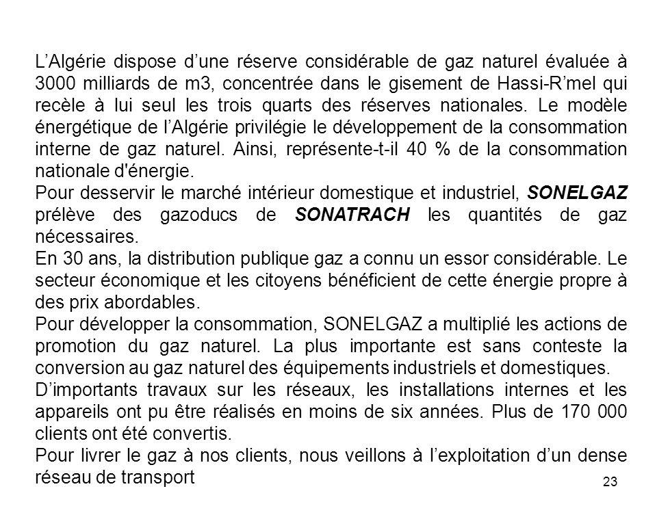 23 LAlgérie dispose dune réserve considérable de gaz naturel évaluée à 3000 milliards de m3, concentrée dans le gisement de Hassi-Rmel qui recèle à lu