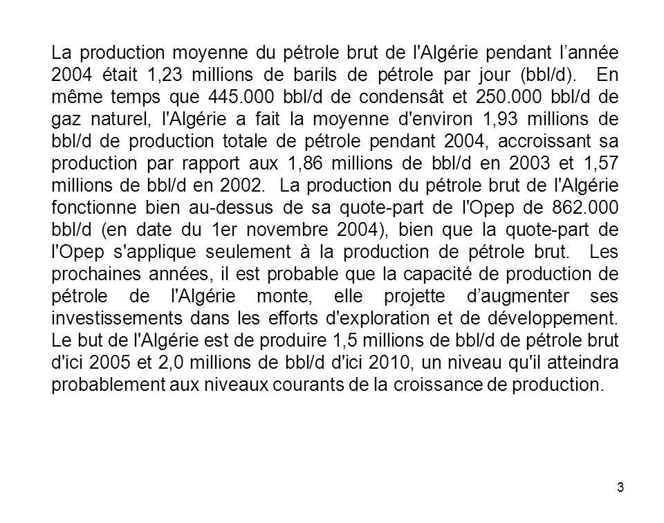 3 La production moyenne du pétrole brut de l'Algérie pendant lannée 2004 était 1,23 millions de barils de pétrole par jour (bbl/d). En même temps que