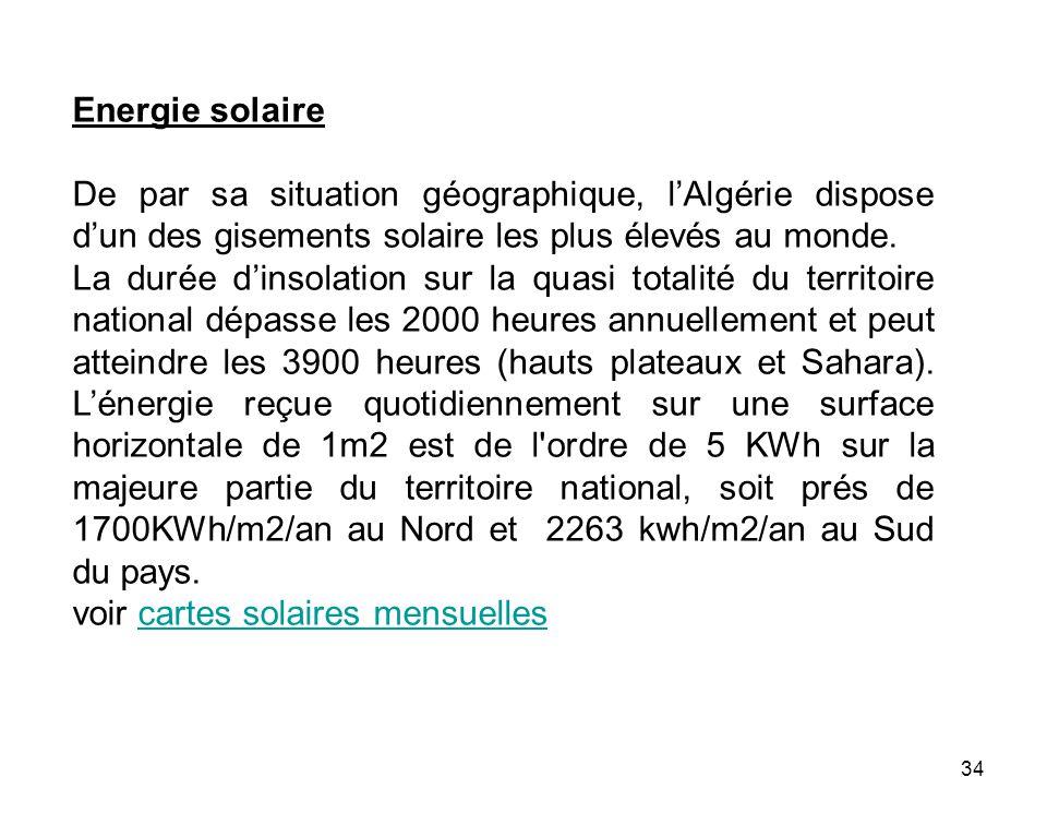 34 Energie solaire De par sa situation géographique, lAlgérie dispose dun des gisements solaire les plus élevés au monde. La durée dinsolation sur la