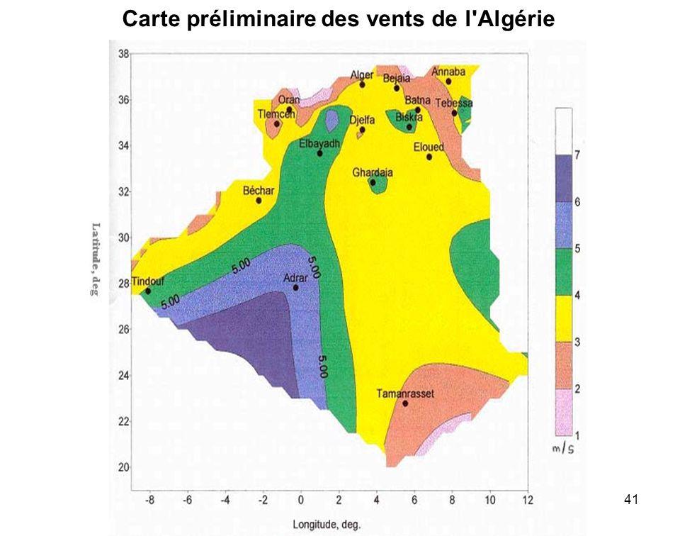 41 Carte préliminaire des vents de l'Algérie