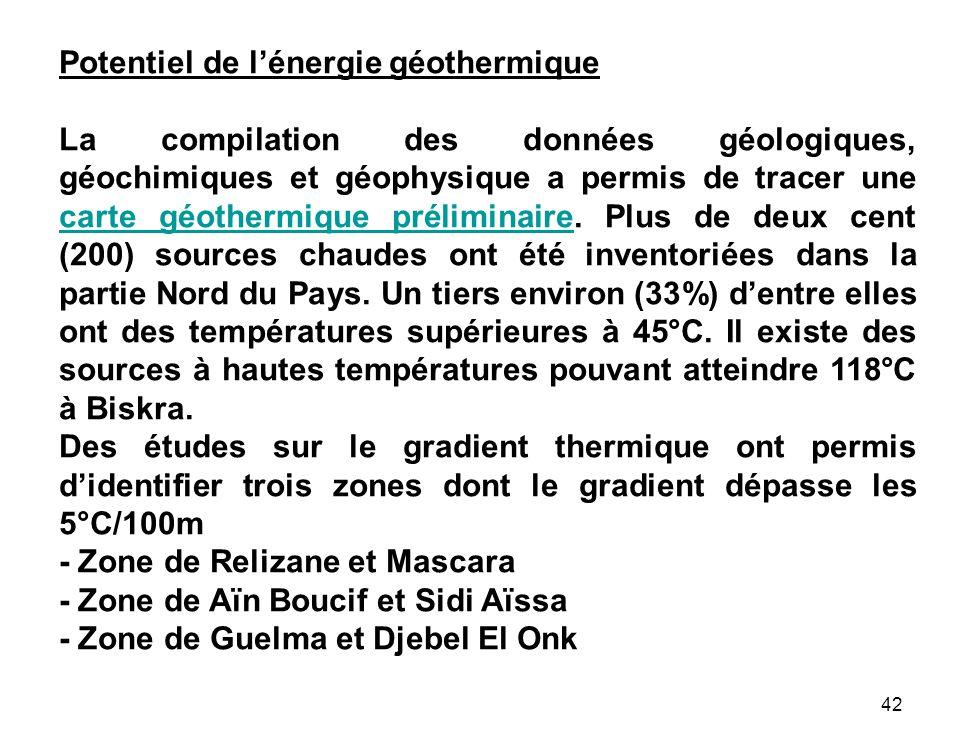 42 Potentiel de lénergie géothermique La compilation des données géologiques, géochimiques et géophysique a permis de tracer une carte géothermique pr