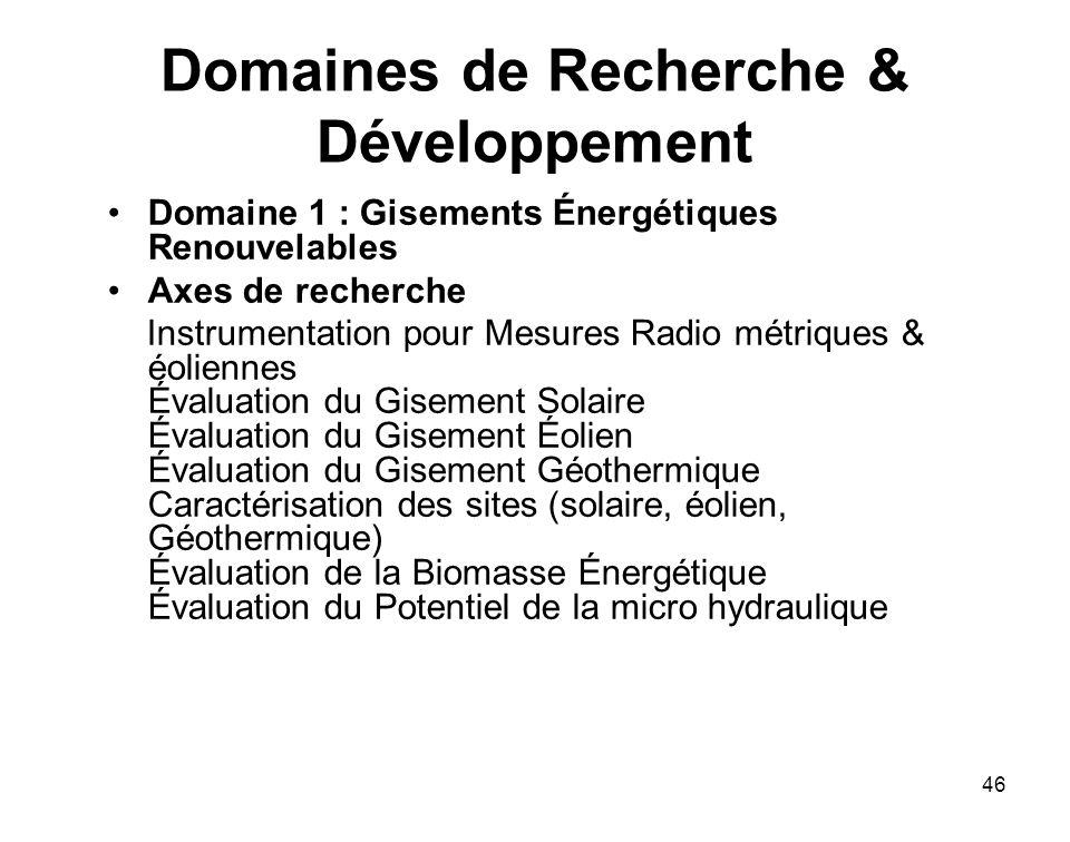 46 Domaines de Recherche & Développement Domaine 1 : Gisements Énergétiques Renouvelables Axes de recherche Instrumentation pour Mesures Radio métriqu
