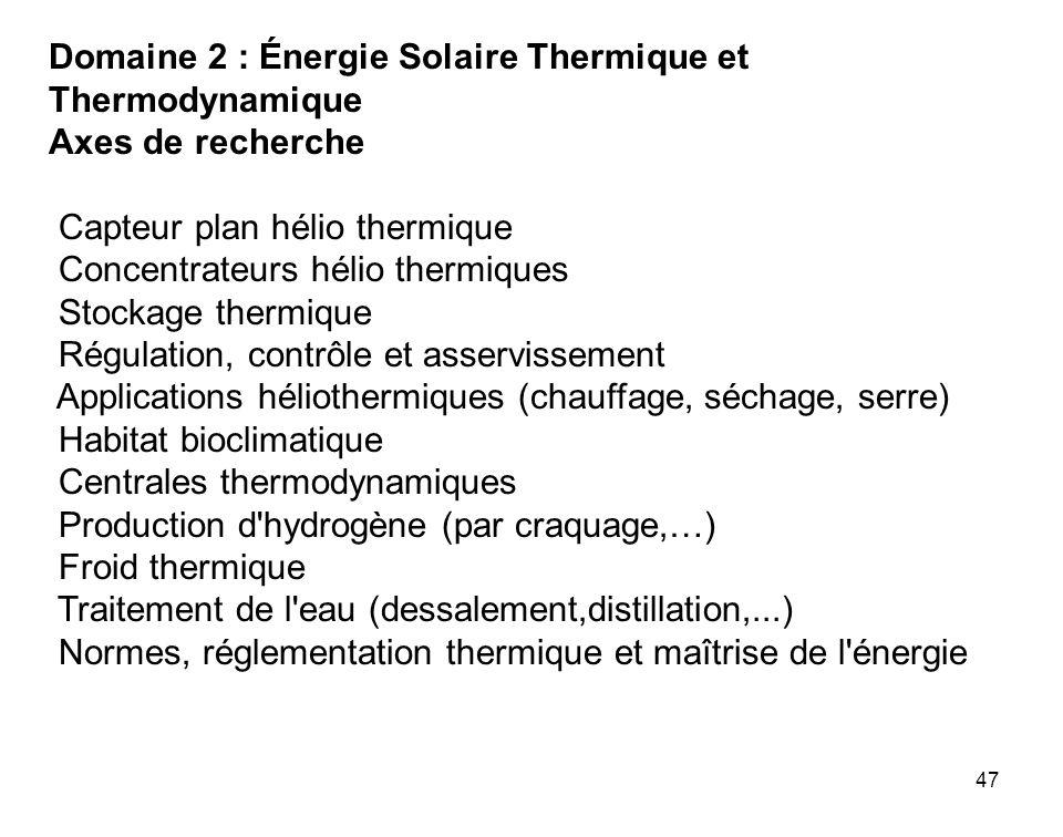 47 Domaine 2 : Énergie Solaire Thermique et Thermodynamique Axes de recherche Capteur plan hélio thermique Concentrateurs hélio thermiques Stockage th