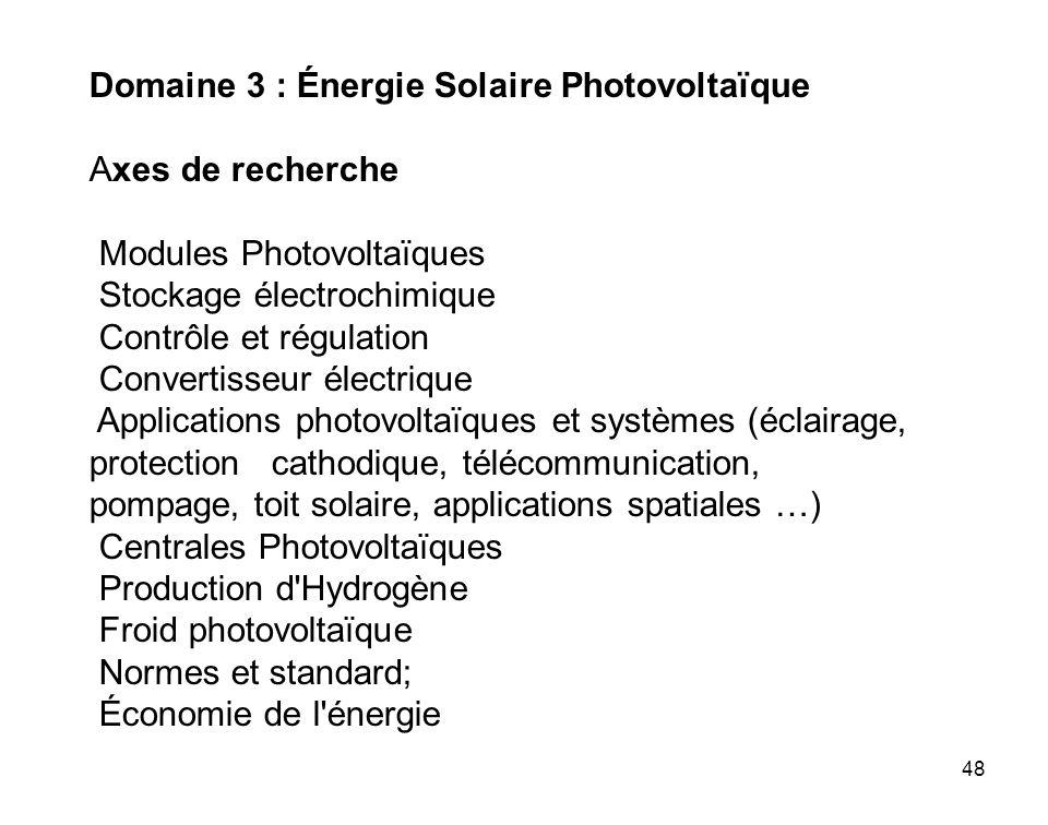 48 Domaine 3 : Énergie Solaire Photovoltaïque Axes de recherche Modules Photovoltaïques Stockage électrochimique Contrôle et régulation Convertisseur