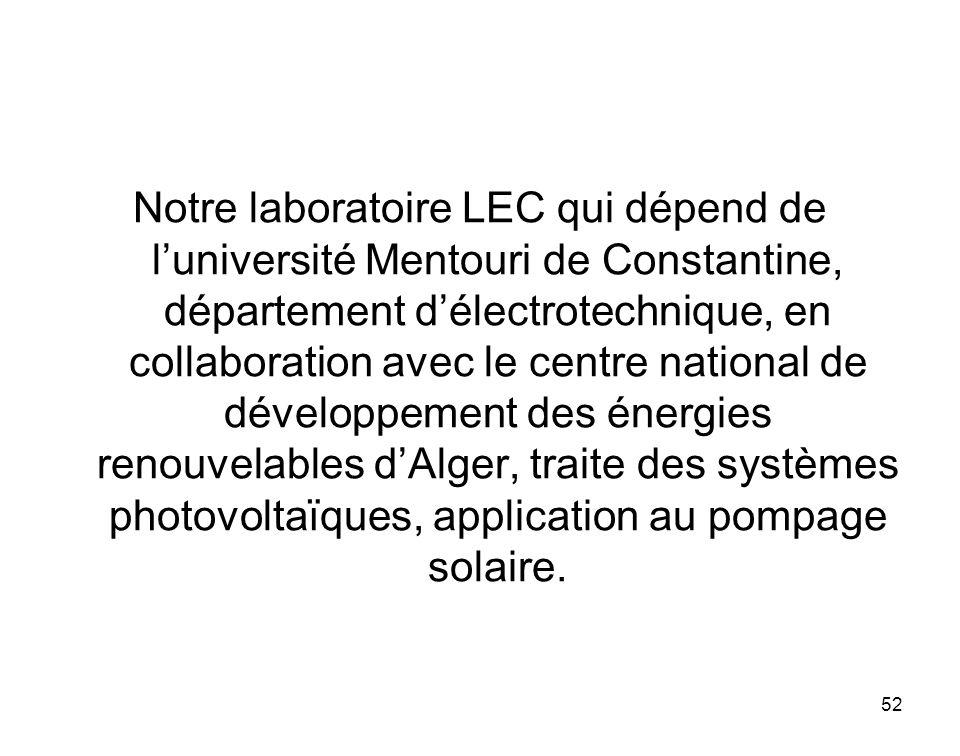 52 Notre laboratoire LEC qui dépend de luniversité Mentouri de Constantine, département délectrotechnique, en collaboration avec le centre national de