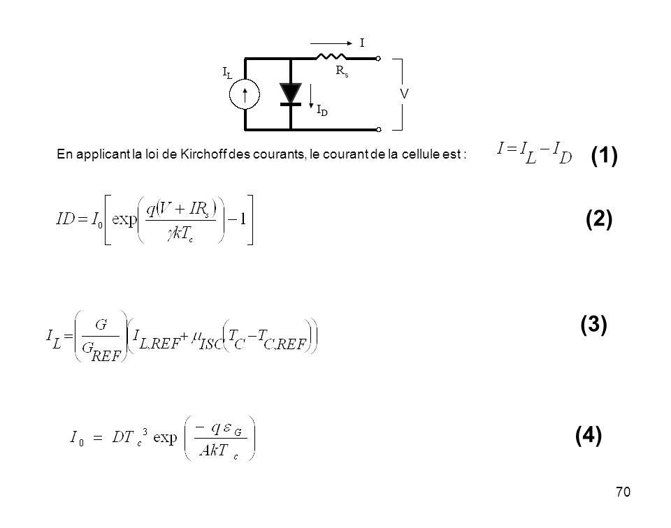 70 En applicant la loi de Kirchoff des courants, le courant de la cellule est : (1) (2) (3) (4)