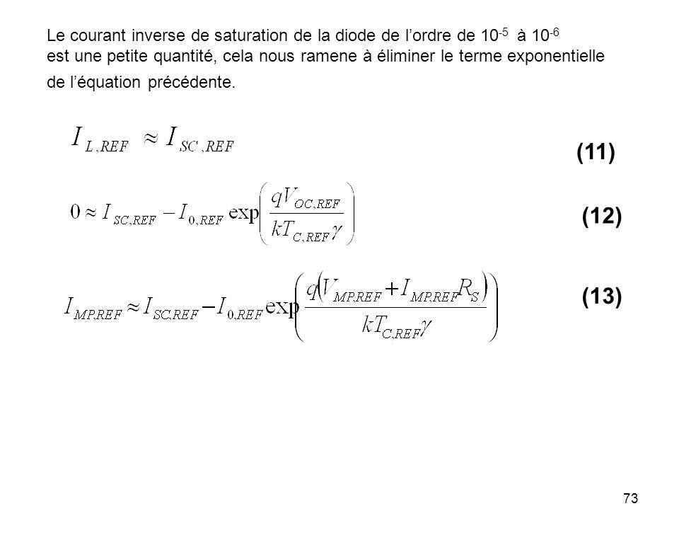 73 Le courant inverse de saturation de la diode de lordre de 10 -5 à 10 -6 est une petite quantité, cela nous ramene à éliminer le terme exponentielle