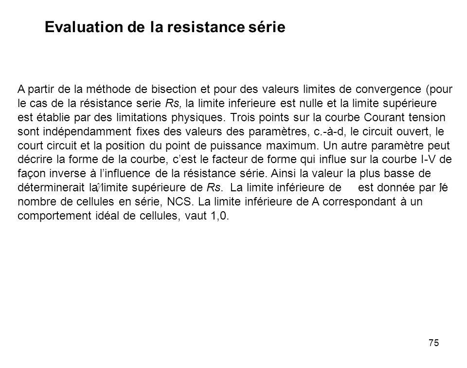 75 Evaluation de la resistance série A partir de la méthode de bisection et pour des valeurs limites de convergence (pour le cas de la résistance seri