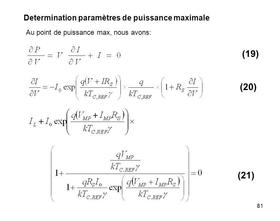 81 Determination paramètres de puissance maximale Au point de puissance max, nous avons: (19) (20) (21)