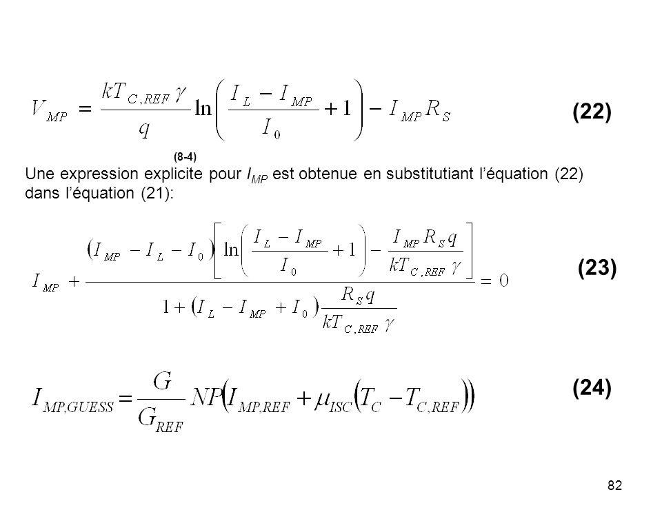 82 (8-4) Une expression explicite pour I MP est obtenue en substitutiant léquation (22) dans léquation (21): (22) (23) (24)