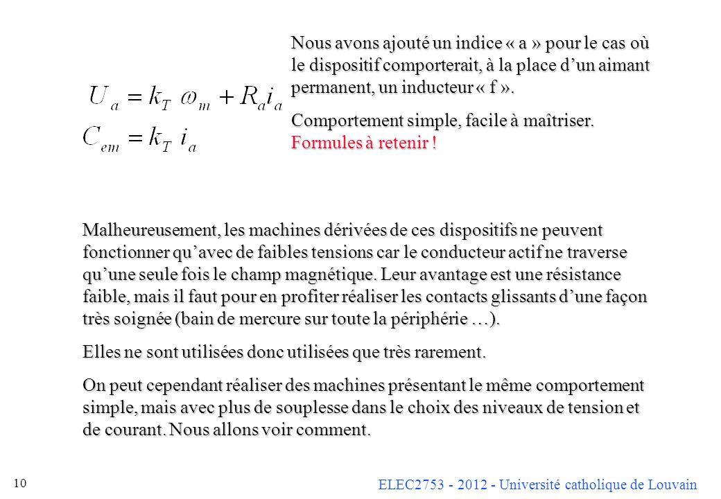 ELEC2753 - 2012 - Université catholique de Louvain 10 Malheureusement, les machines dérivées de ces dispositifs ne peuvent fonctionner quavec de faibl
