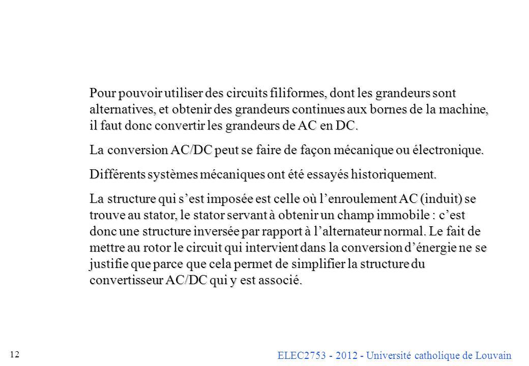 ELEC2753 - 2012 - Université catholique de Louvain 12 Pour pouvoir utiliser des circuits filiformes, dont les grandeurs sont alternatives, et obtenir