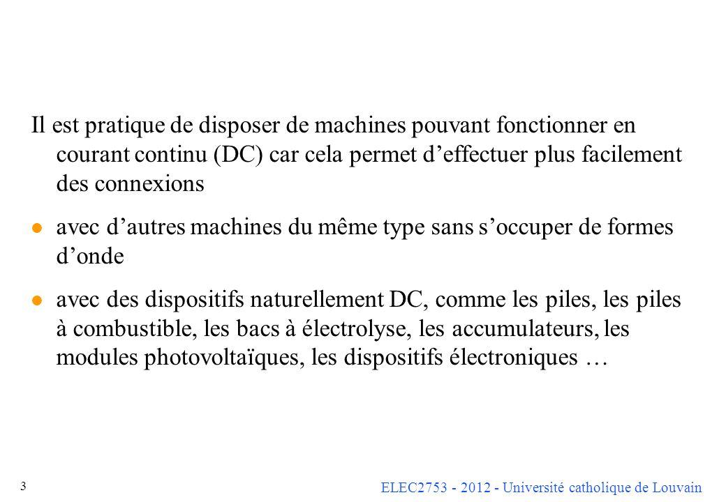 ELEC2753 - 2012 - Université catholique de Louvain 3 Il est pratique de disposer de machines pouvant fonctionner en courant continu (DC) car cela perm