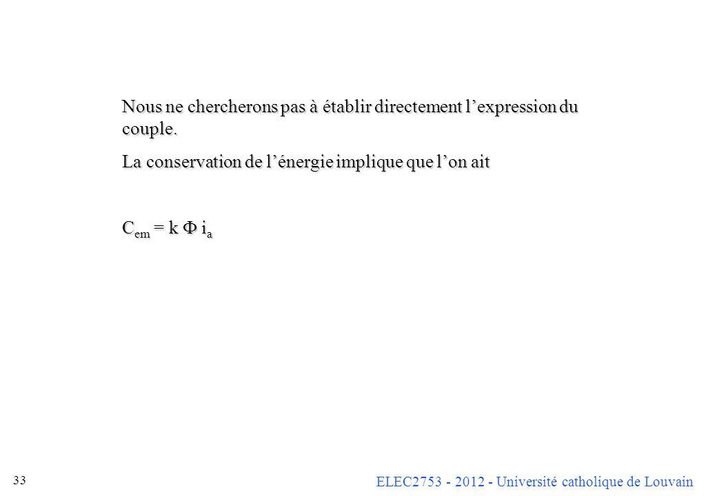 ELEC2753 - 2012 - Université catholique de Louvain 33 Nous ne chercherons pas à établir directement lexpression du couple. La conservation de lénergie