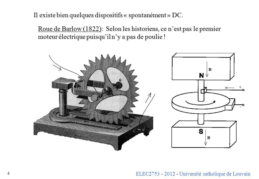 ELEC2753 - 2012 - Université catholique de Louvain 4 Il existe bien quelques dispositifs « spontanément » DC. Roue de Barlow (1822): Selon les histori
