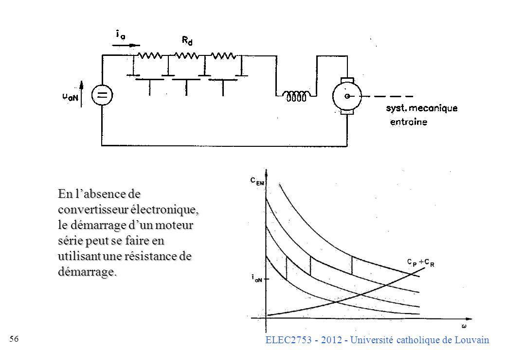 ELEC2753 - 2012 - Université catholique de Louvain 56 En labsence de convertisseur électronique, le démarrage dun moteur série peut se faire en utilis