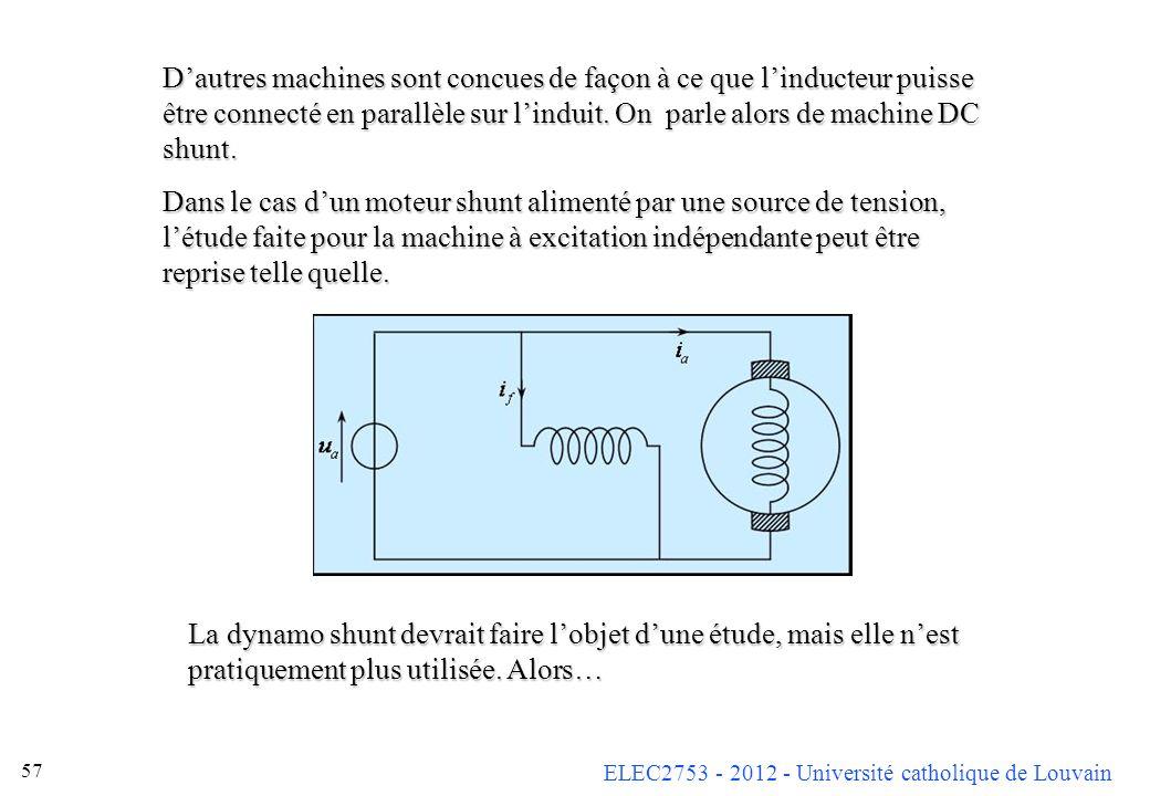 ELEC2753 - 2012 - Université catholique de Louvain 57 Dautres machines sont concues de façon à ce que linducteur puisse être connecté en parallèle sur