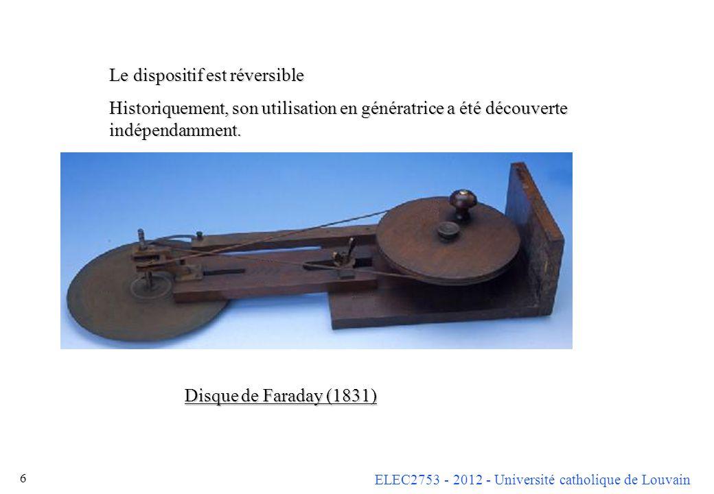 ELEC2753 - 2012 - Université catholique de Louvain 6 Le dispositif est réversible Historiquement, son utilisation en génératrice a été découverte indé