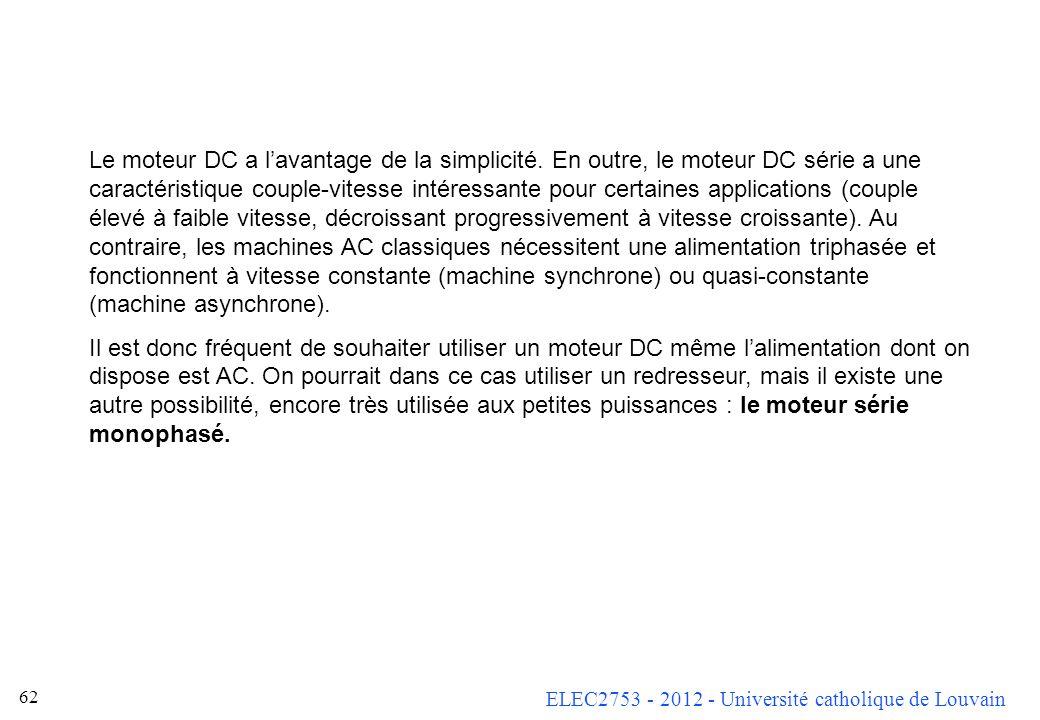 ELEC2753 - 2012 - Université catholique de Louvain 62 Le moteur DC a lavantage de la simplicité. En outre, le moteur DC série a une caractéristique co