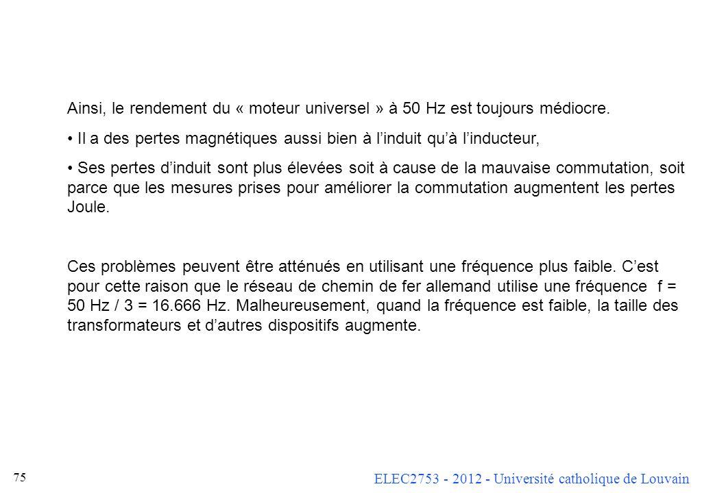 ELEC2753 - 2012 - Université catholique de Louvain 75 Ainsi, le rendement du « moteur universel » à 50 Hz est toujours médiocre. Il a des pertes magné