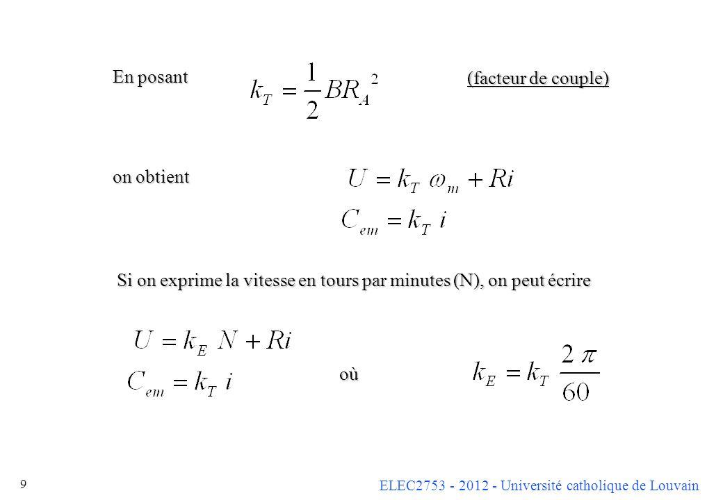 ELEC2753 - 2012 - Université catholique de Louvain 9 En posant on obtient (facteur de couple) Si on exprime la vitesse en tours par minutes (N), on pe