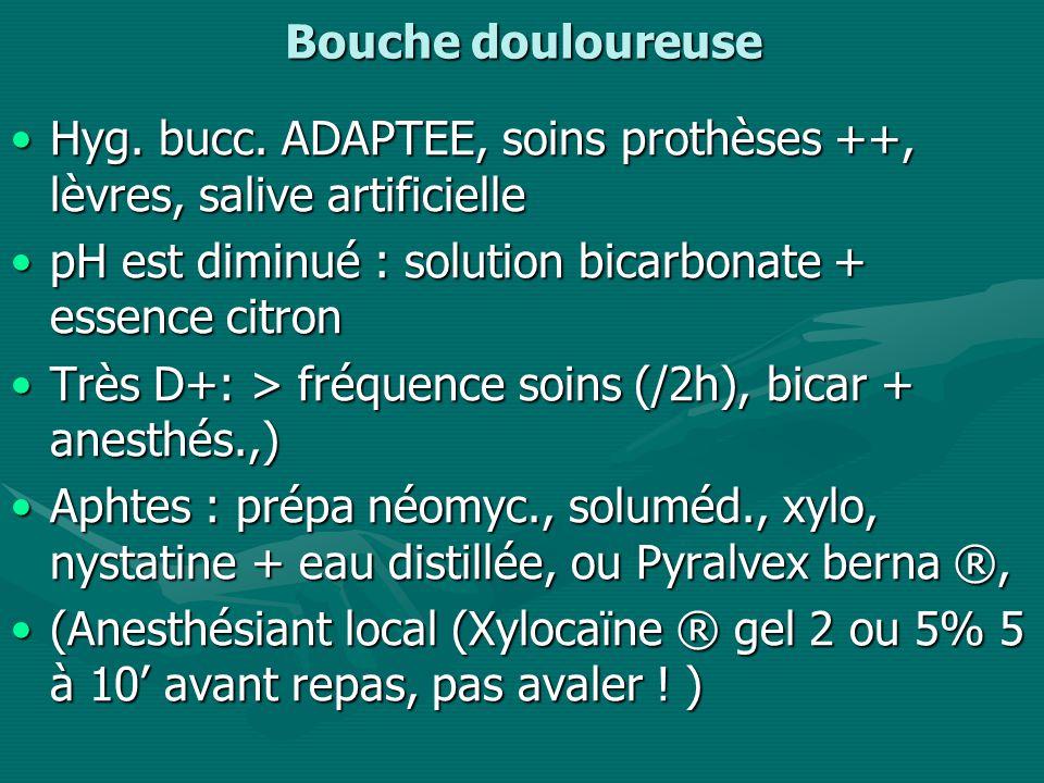 Bouche douloureuse Hyg.bucc. ADAPTEE, soins prothèses ++, lèvres, salive artificielleHyg.