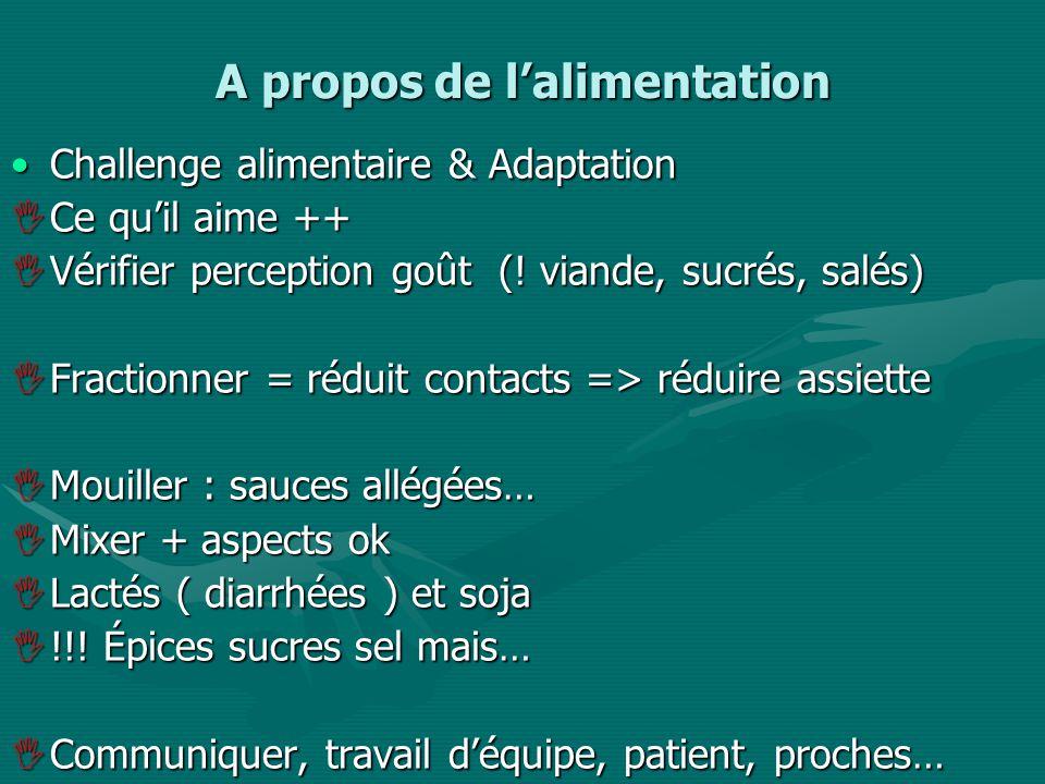 A propos de lalimentation Challenge alimentaire & AdaptationChallenge alimentaire & Adaptation Ce quil aime ++ Ce quil aime ++ Vérifier perception goût (.