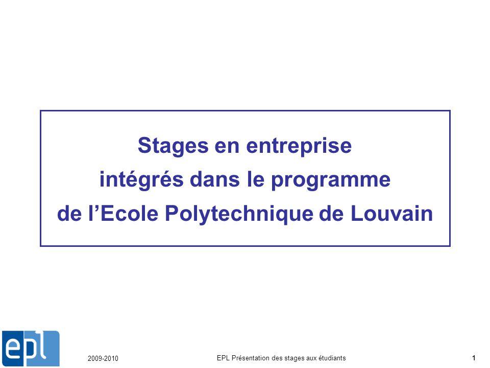 2009-2010 EPL Présentation des stages aux étudiants1 Stages en entreprise intégrés dans le programme de lEcole Polytechnique de Louvain