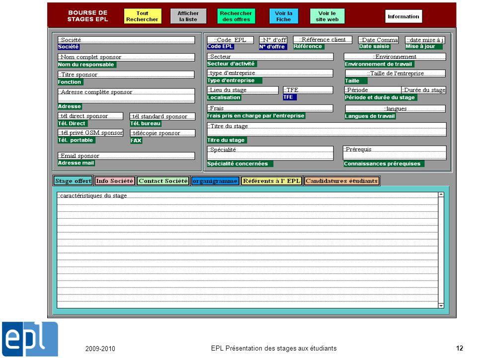 2009-2010 EPL Présentation des stages aux étudiants12