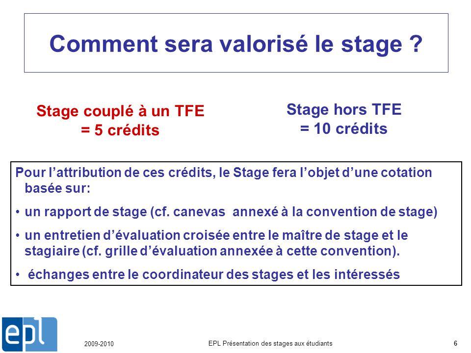 2009-2010 EPL Présentation des stages aux étudiants6 Comment sera valorisé le stage .