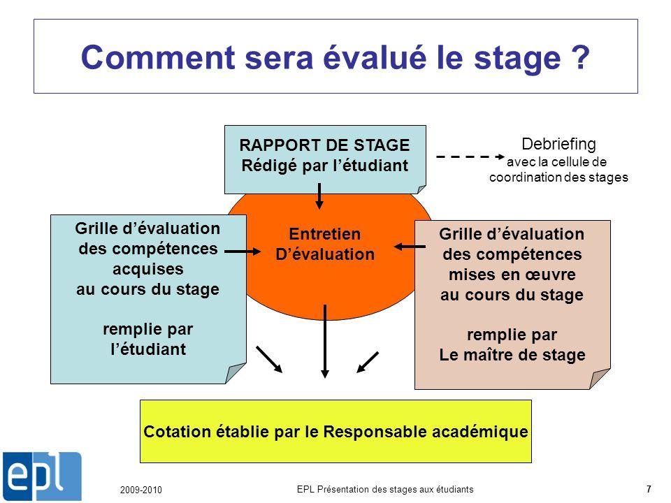 2009-2010 EPL Présentation des stages aux étudiants7 Comment sera évalué le stage .