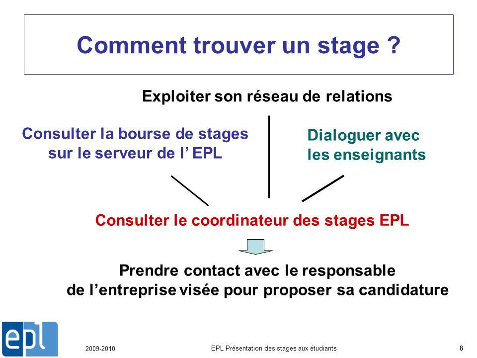 2009-2010 EPL Présentation des stages aux étudiants8 Comment trouver un stage .