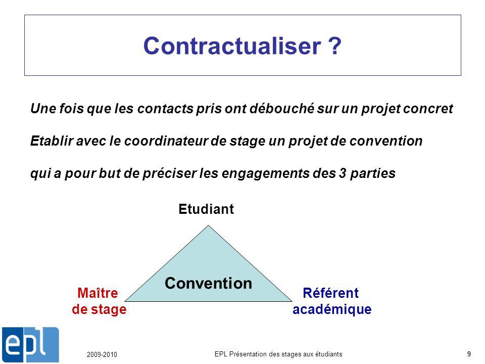 2009-2010 EPL Présentation des stages aux étudiants9 Contractualiser .