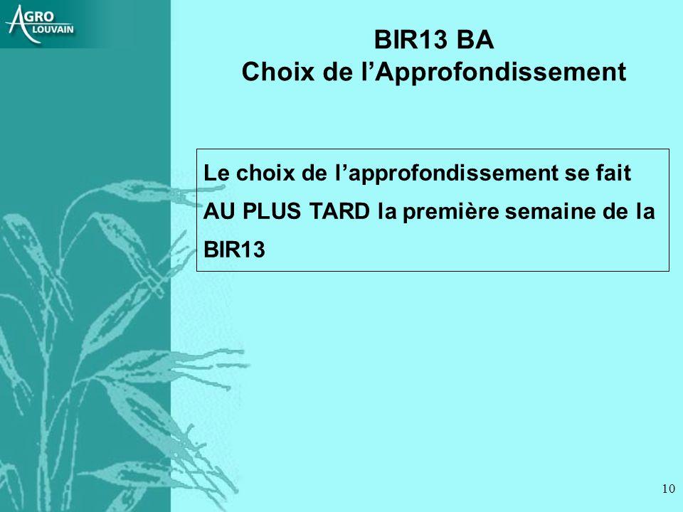 10 Le choix de lapprofondissement se fait AU PLUS TARD la première semaine de la BIR13 BIR13 BA Choix de lApprofondissement