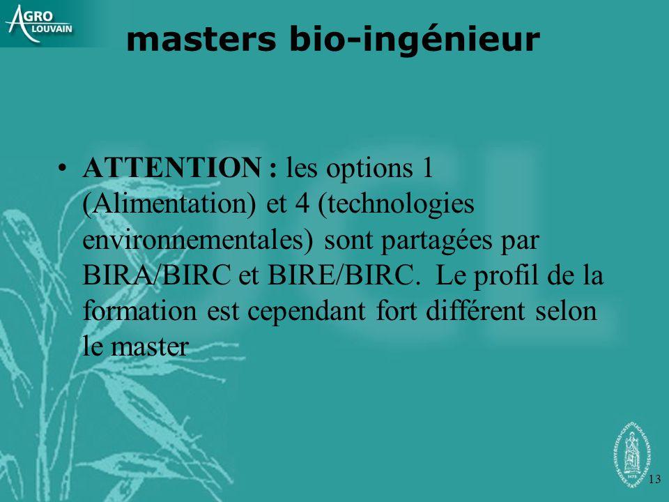 13 ATTENTION : les options 1 (Alimentation) et 4 (technologies environnementales) sont partagées par BIRA/BIRC et BIRE/BIRC. Le profil de la formation