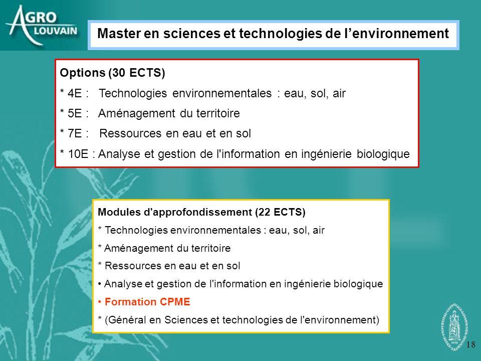 18 Options (30 ECTS) * 4E : Technologies environnementales : eau, sol, air * 5E : Aménagement du territoire * 7E : Ressources en eau et en sol * 10E :