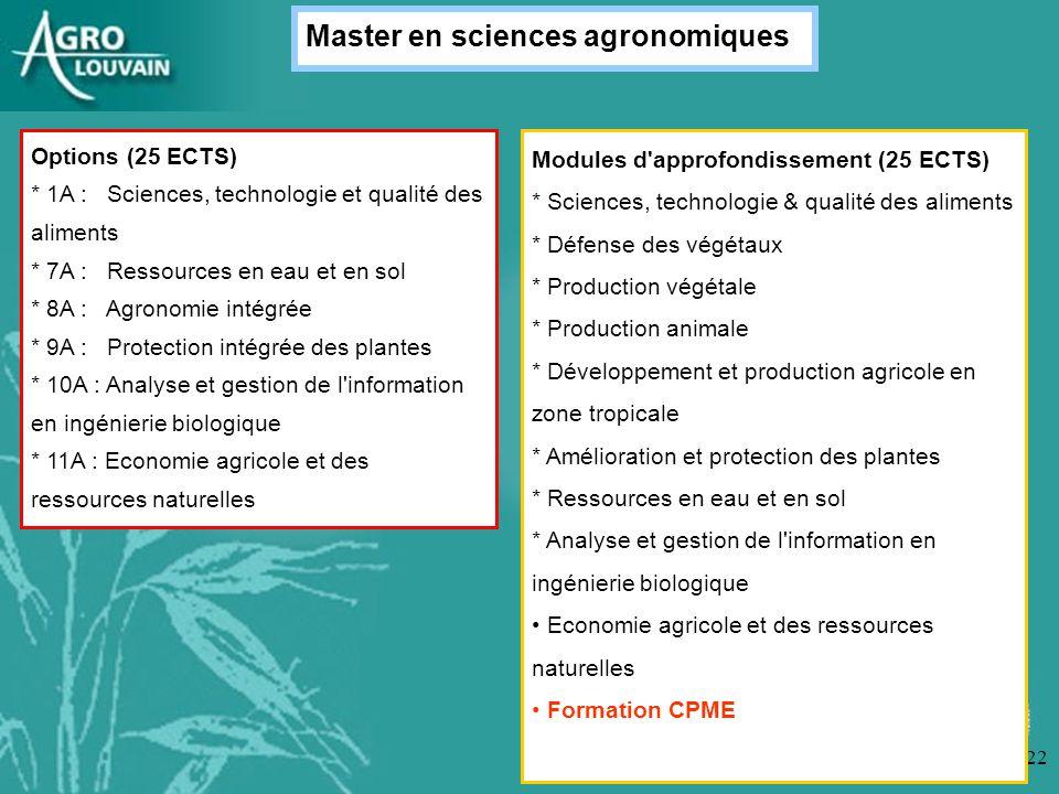 22 Options (25 ECTS) * 1A : Sciences, technologie et qualité des aliments * 7A : Ressources en eau et en sol * 8A : Agronomie intégrée * 9A : Protecti