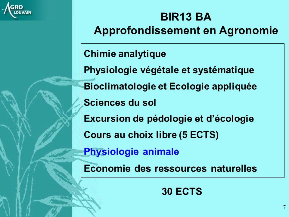 7 BIR13 BA Approfondissement en Agronomie Chimie analytique Physiologie végétale et systématique Bioclimatologie et Ecologie appliquée Sciences du sol