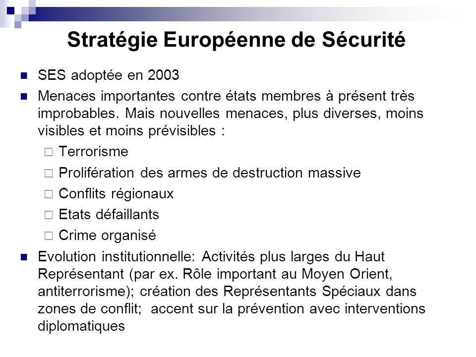 Stratégie Européenne de Sécurité SES adoptée en 2003 Menaces importantes contre états membres à présent très improbables. Mais nouvelles menaces, plus