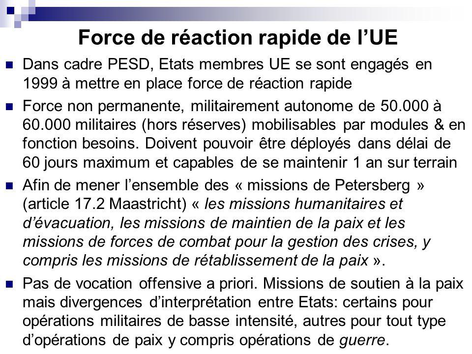 Force de réaction rapide de lUE Dans cadre PESD, Etats membres UE se sont engagés en 1999 à mettre en place force de réaction rapide Force non permanente, militairement autonome de 50.000 à 60.000 militaires (hors réserves) mobilisables par modules & en fonction besoins.