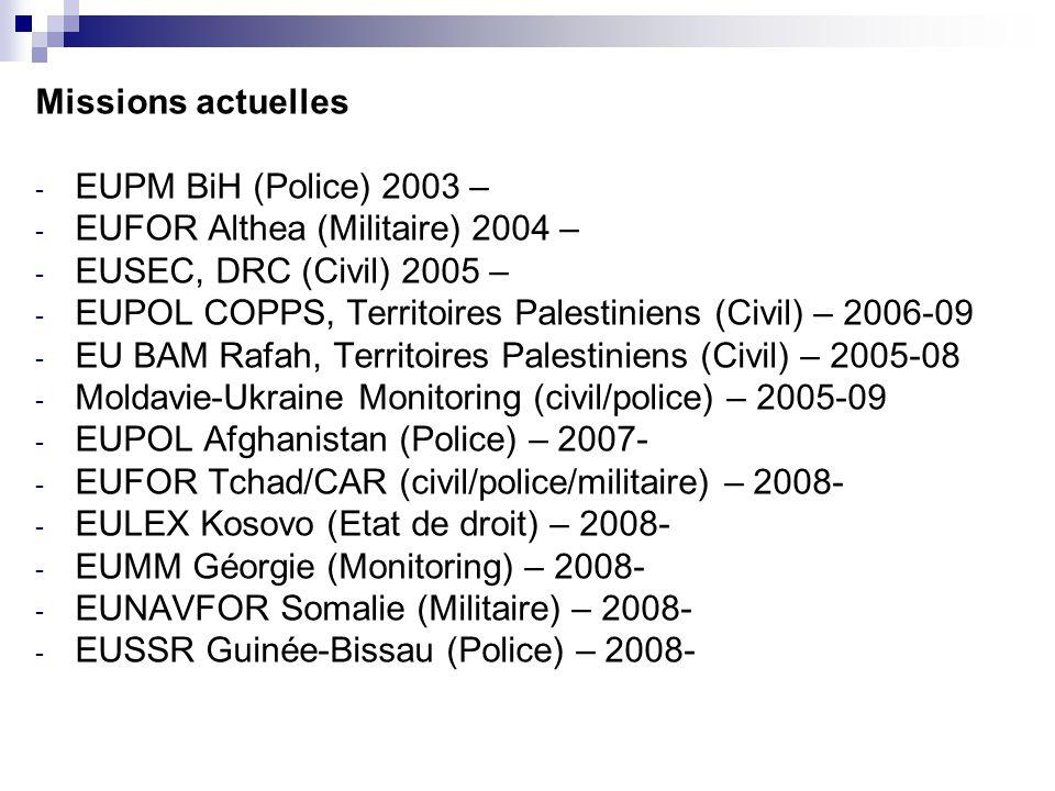 Missions actuelles - EUPM BiH (Police) 2003 – - EUFOR Althea (Militaire) 2004 – - EUSEC, DRC (Civil) 2005 – - EUPOL COPPS, Territoires Palestiniens (Civil) – 2006-09 - EU BAM Rafah, Territoires Palestiniens (Civil) – 2005-08 - Moldavie-Ukraine Monitoring (civil/police) – 2005-09 - EUPOL Afghanistan (Police) – 2007- - EUFOR Tchad/CAR (civil/police/militaire) – 2008- - EULEX Kosovo (Etat de droit) – 2008- - EUMM Géorgie (Monitoring) – 2008- - EUNAVFOR Somalie (Militaire) – 2008- - EUSSR Guinée-Bissau (Police) – 2008-