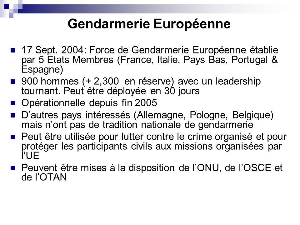 Gendarmerie Européenne 17 Sept. 2004: Force de Gendarmerie Européenne établie par 5 Etats Membres (France, Italie, Pays Bas, Portugal & Espagne) 900 h