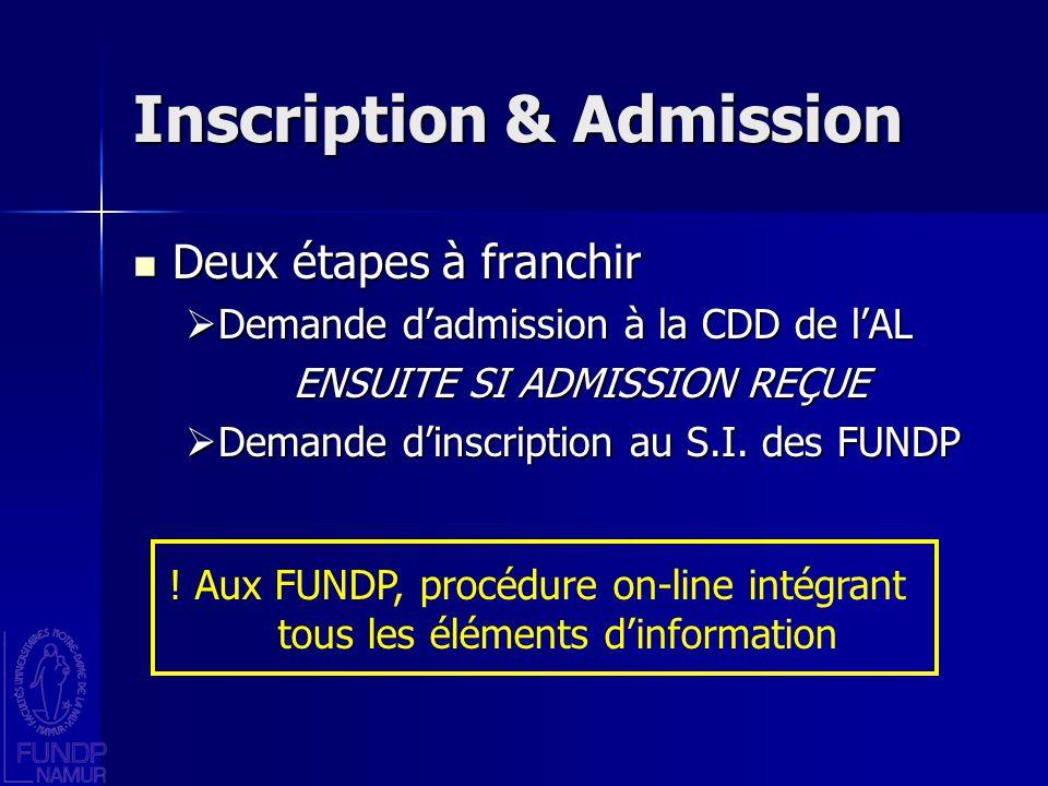 Inscription & Admission Deux étapes à franchir Deux étapes à franchir Demande dadmission à la CDD de lAL Demande dadmission à la CDD de lAL ENSUITE SI