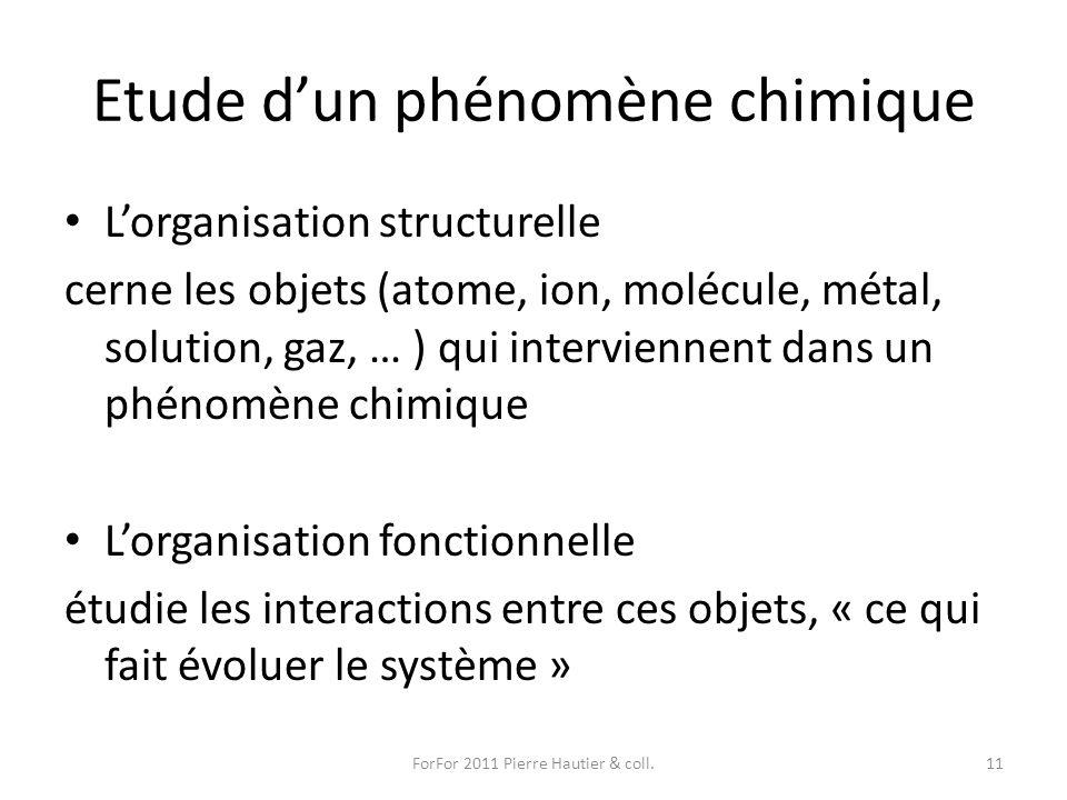 Etude dun phénomène chimique Lorganisation structurelle cerne les objets (atome, ion, molécule, métal, solution, gaz, … ) qui interviennent dans un ph