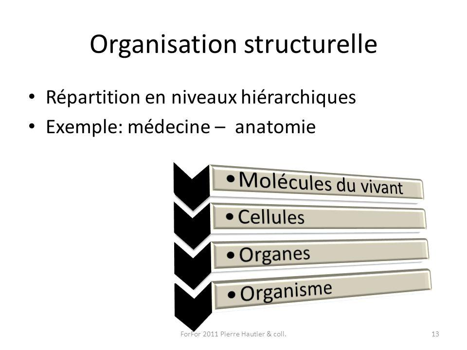 Organisation structurelle Répartition en niveaux hiérarchiques Exemple: médecine – anatomie ForFor 2011 Pierre Hautier & coll.13