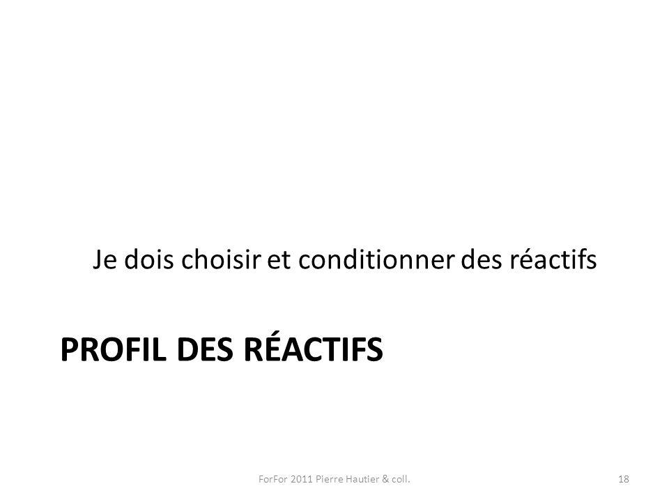 PROFIL DES RÉACTIFS Je dois choisir et conditionner des réactifs ForFor 2011 Pierre Hautier & coll.18